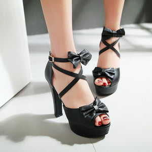 8cm the new summer band sweet high heels sexy sandals fish mouth bow shoes with thick lady