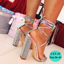 Load image into Gallery viewer, Women's  Rhinestone Summer Cross Strap Sandal Pumps Heels Diamond Heels High Heeled Bandage Sandals