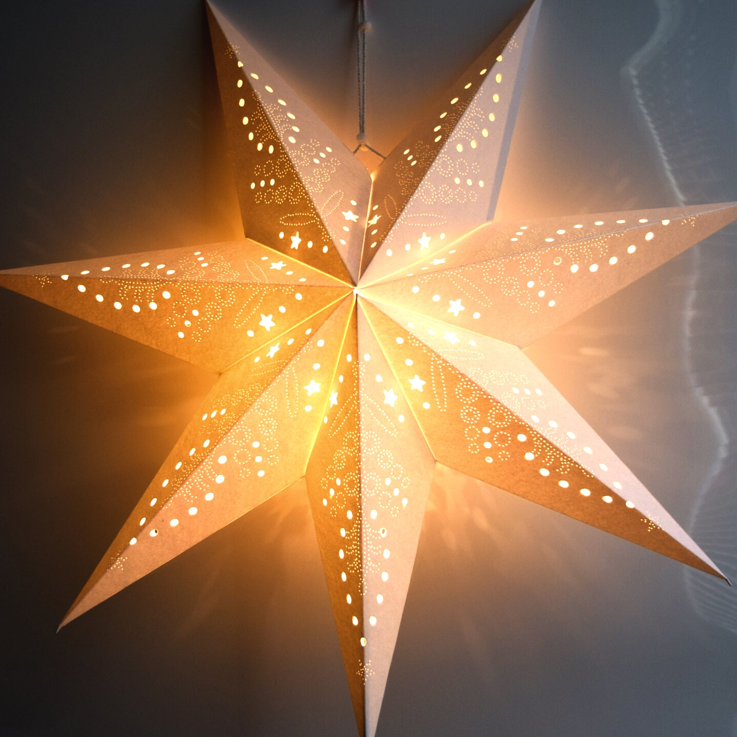 Paper Star Lantern Decoration 22 Inch Frosted White 7 Point Glitter S Willbrite Com Gifts Decor That Make People Happy