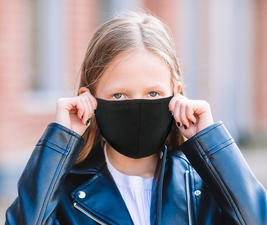 Kid Size Face Mask - Reusable Face Mask High Quality Cotton in Black - Adjustable & with pocket filter