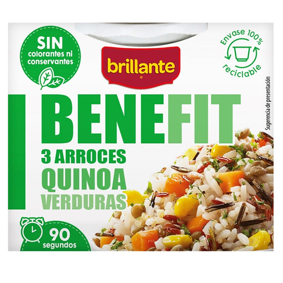 BRILLANTE. Benefit 3 arroces, quinoa y verduras. 250 gr.