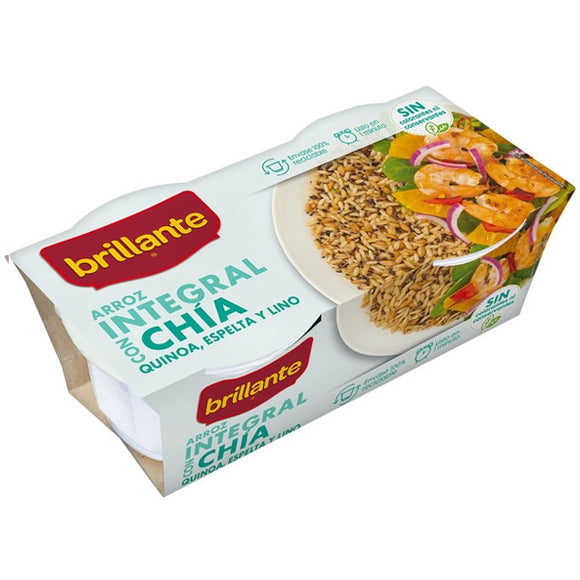 BRILLANTE. Arroz integral con chia. 2 x 125 gr.
