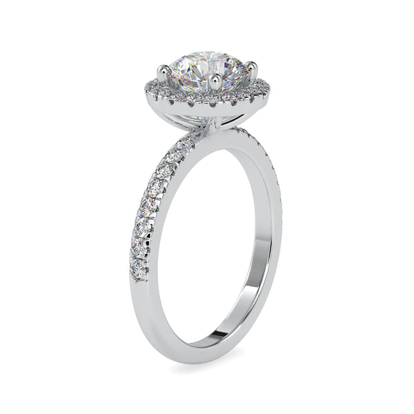 Classic 50-Pointer Platinum Halo Solitaire Engagement Ring with Diamond Studded Shank JL PT US-0005