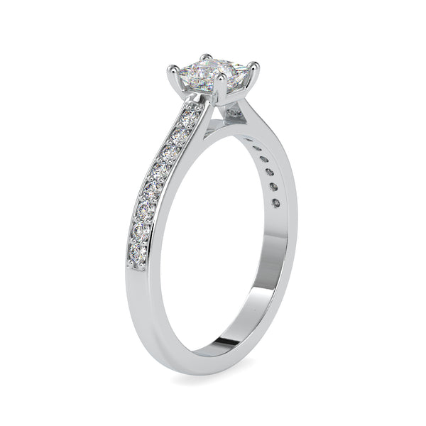 50-Pointer Princess Cut Platinum Solitaire Engagement Ring with Diamond Studded Shank JL PT US-0011