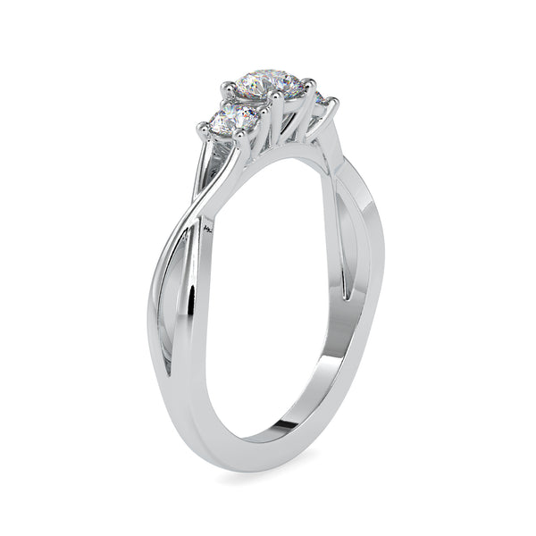 30-Pointer Three-Diamond Platinum Solitaire Engagement Ring for Women JL PT US-0012