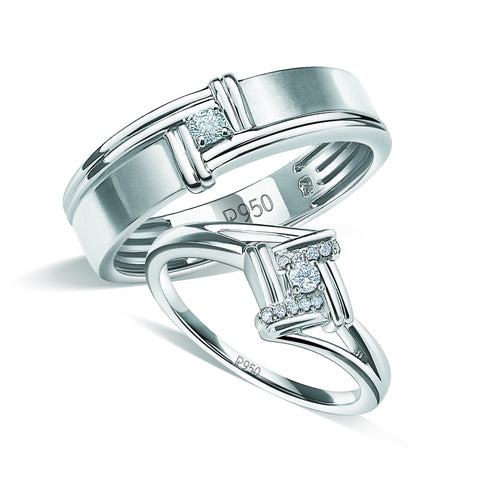 Platinum Couple Rings with Diamonds JL PT 930