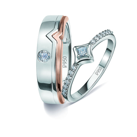 Platinum & Rose Gold Couple Rings with Diamonds JL PT 935