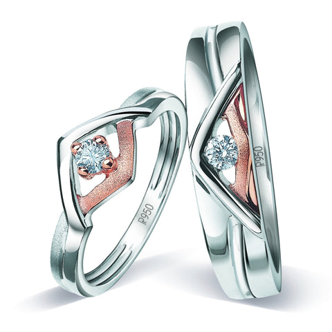 Platinum Couple Rings with Rose Gold & Diamonds JL PT 936