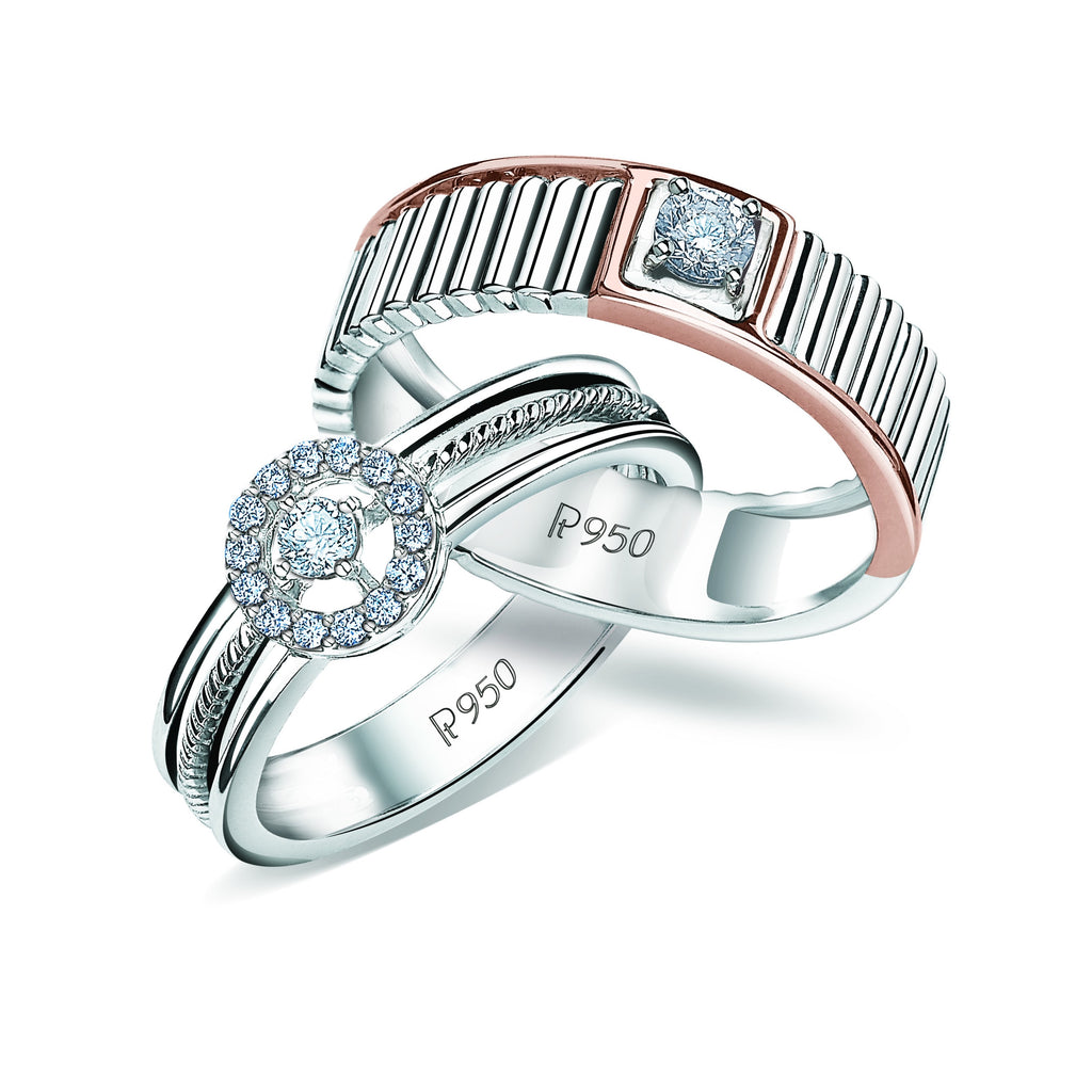 Designer Platinum & Rose Gold Couple Rings with Diamonds JL PT 937
