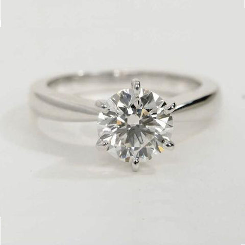 0.70 / 0.80 Carats Classic 6 Prong Tapered Platinum Solitaire Ring JL PT 17