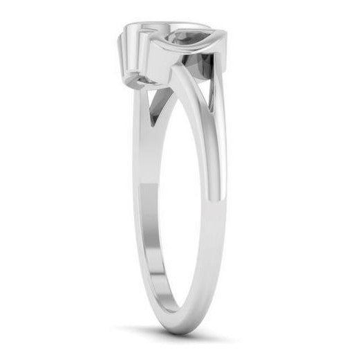 Side View of 2 Hearts Plain Platinum Ring JL PT 550 for Women