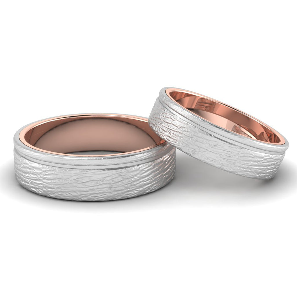 Front View of Textured Platinum Couple Rings Bands with a Single  Groove & Rose Gold Base JL PT 644