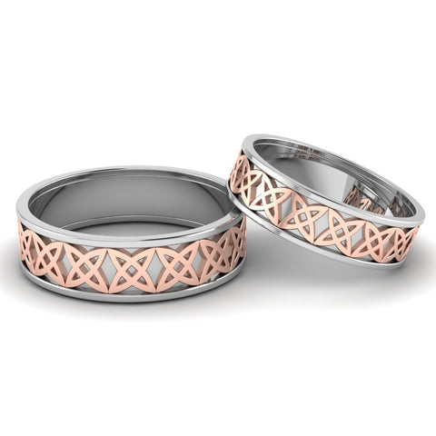 Front View of Designer Platinum & Rose Gold Fusion Couple Rings JL PT 645