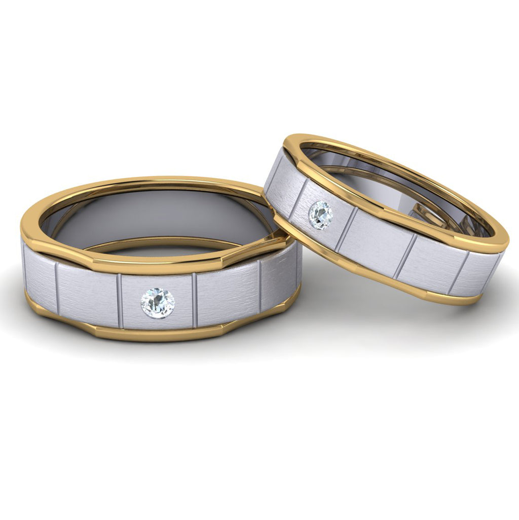 Front View of Unique Shape Platinum Love Bands with Single Diamond & Yellow Gold Border JL PT 648 - Yellow Gold
