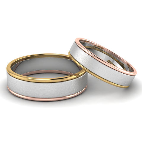 Front View of Platinum Love Bands with Rose Gold & Yellow Gold Edges JL PT 651