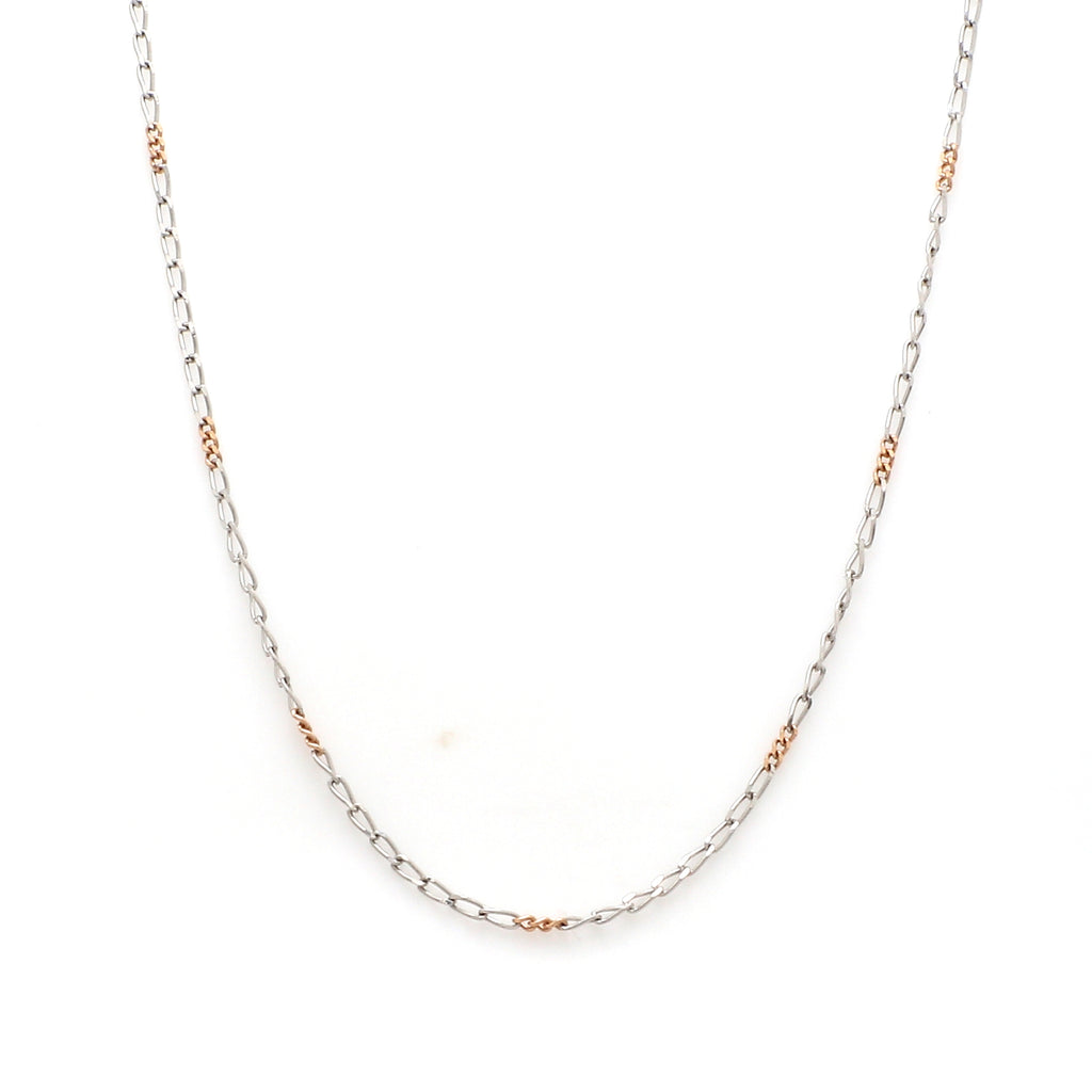 Thin Platinum & Rose Gold Chain for Women JL PT CH 953