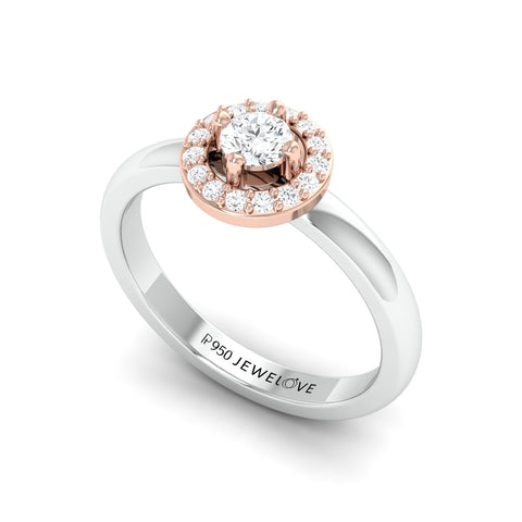 Ready to Ship - Ring Size 12, 20-Pointer Halo Solitaire Platinum Engagement Ring JL PT 582