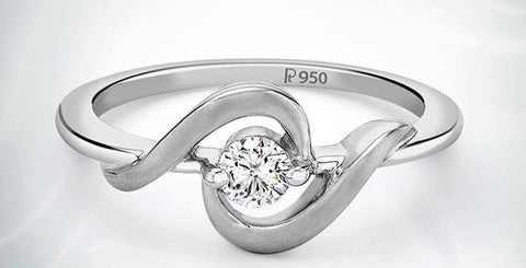Platinum ring with Single Diamond for Women SJ PTO 201