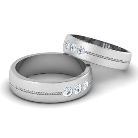 Front View of 3 Diamond Platinum Love Bands JL PT 652