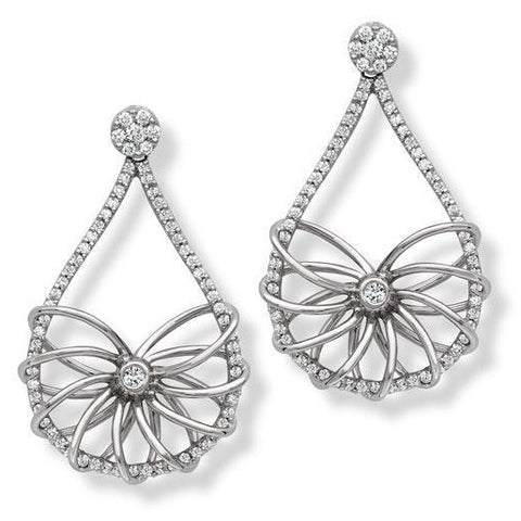 Broad Platinum Danglers with Diamonds SJ PTO E 144 - Suranas Jewelove