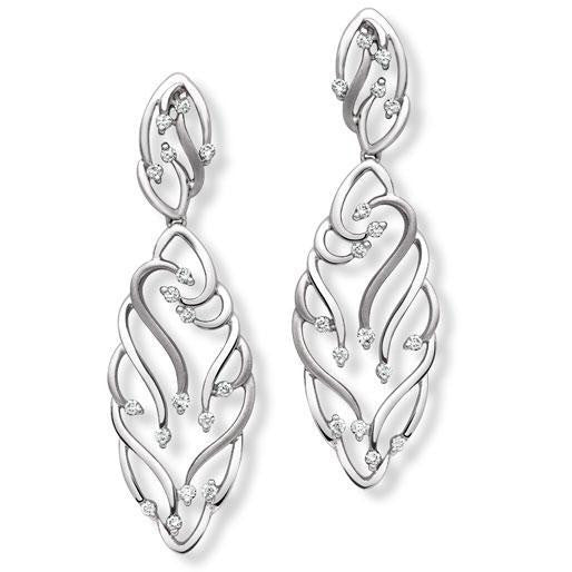 Abstract Art Platinum Chandeliers Earrings with Diamonds SJ PTO E 150 in India