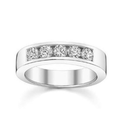 5 Diamond Platinum Wedding Band with Channel Setting SJ PTO 246
