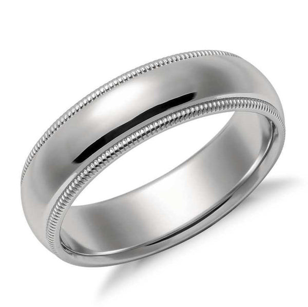 6mm Plain Platinum Milgrain Band for Men SJ PTO 253 in India