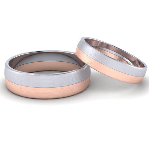 Front View of Simple Platinum & Rose Gold Couple Rings JL PT 634