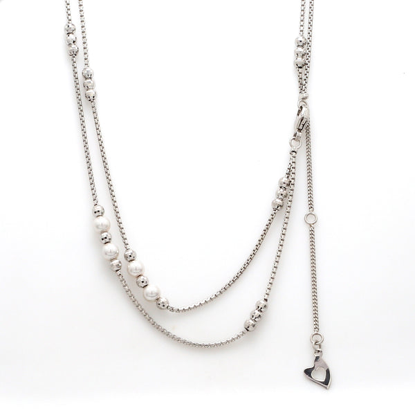 2 Layer Platinum Pearl Chain for Women JL PT CH 904