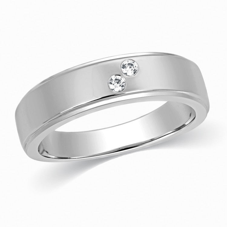 2 Diamond Platinum Wedding Band for Men SJ PTO 261 - Suranas Jewelove  - 2
