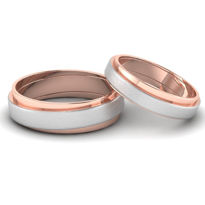 Front View of Slanting Platinum & Rose Gold Couple Rings JL PT 635