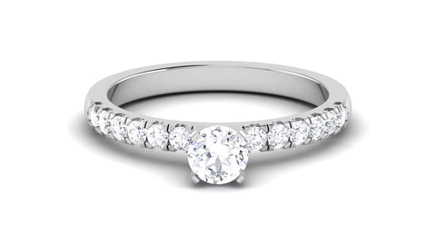 Platinum Solitaire Engagement Ring Setting with Diamond Shank for Women JL PT 479-M