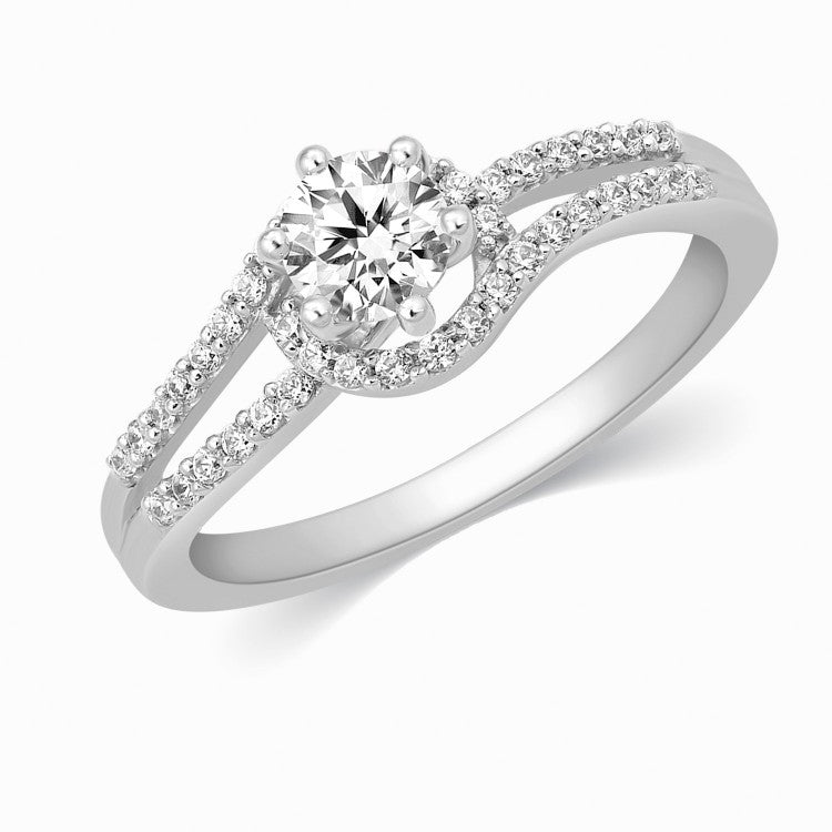Perspective View of 0.30 cts. Solitaire Engagement Ring for Women with a Curvy Diamond Shank JL PT 331