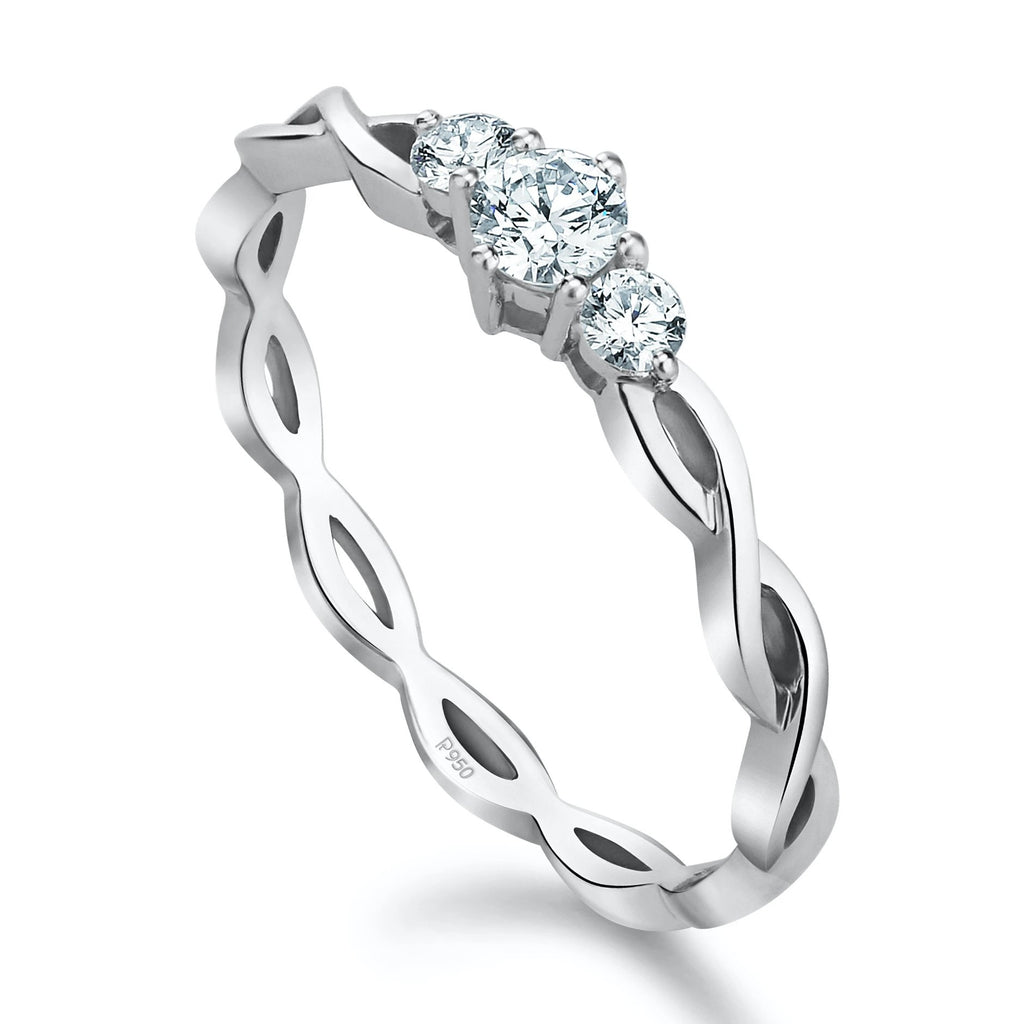 3 Diamond Platinum Solitaire Ring with a Twist JL PT 932