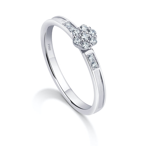 Platinum Ring with Pressure Setting Diamonds JL PT 930