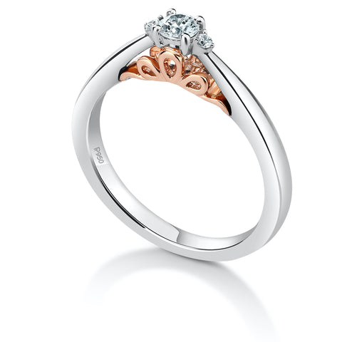 Designer Platinum Solitaire Engagement Ring with a Touch of Rose Gold JL PT 933