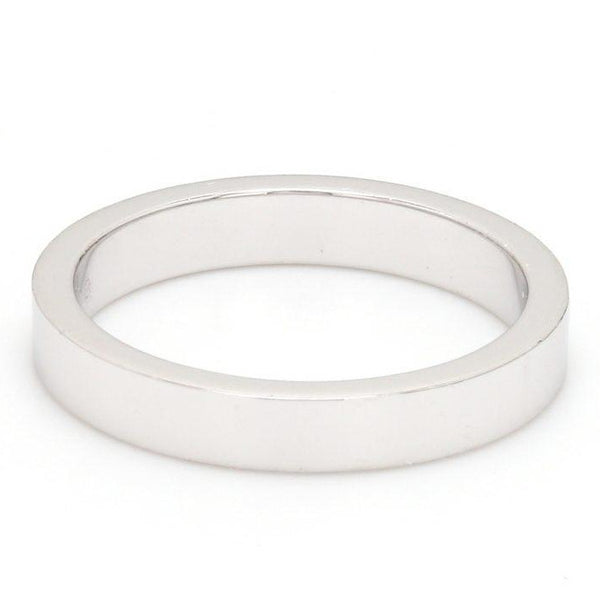 Front View of 3mm Flat Platinum Wedding Band SJ PTO 223 - Flat