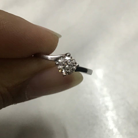 40 Pointer Curvy Platinum Solitaire Ring for Women JL PT 548