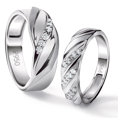 Compliments of Love Designer Platinum Couple Rings with Diamonds JL PT 533