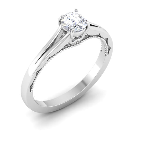 30 Pointer Split Shank Platinum Solitaire Engagement Ring for Women JL PT 547
