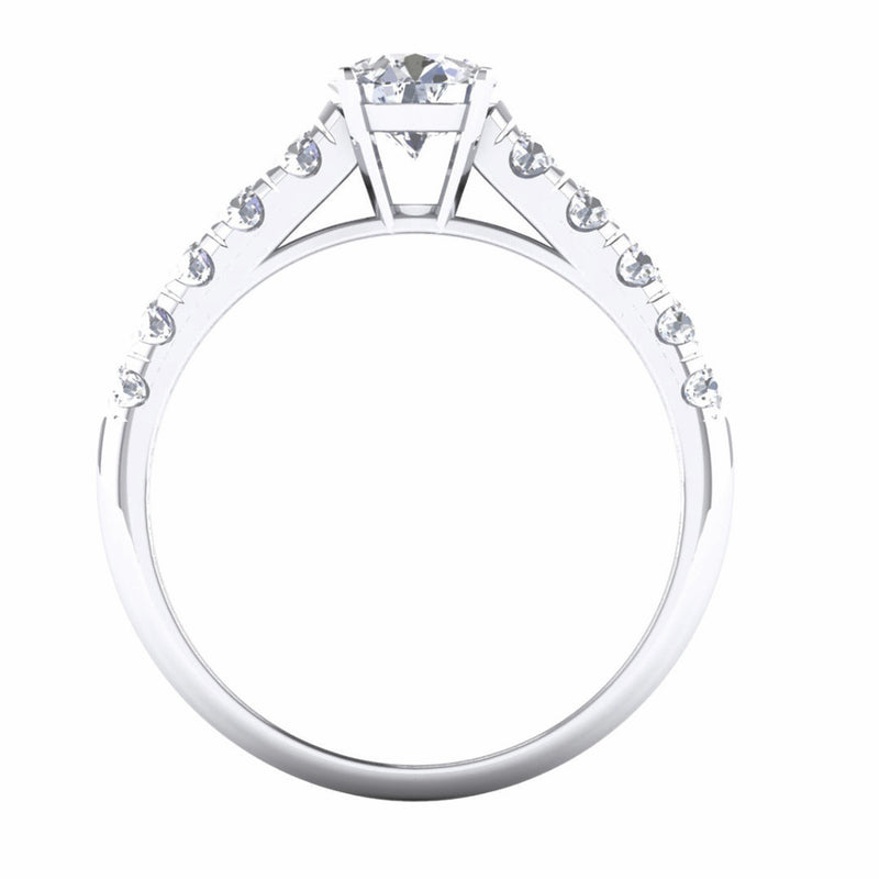 Platinum Solitaire Engagement Setting with 10 Diamonds on Shank JL PT 478-M