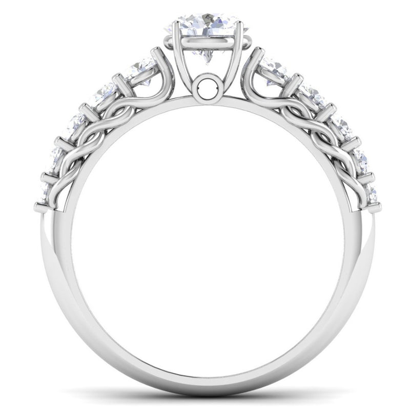 50 Pointer Platinum Diamond Solitaire Ring with Diamond Accents For Women JL PT 484