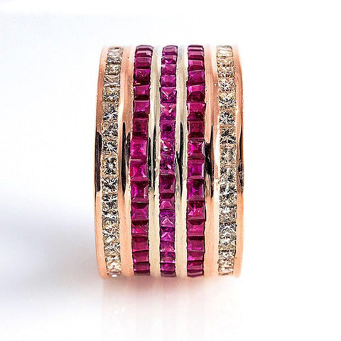 5 Row Ruby & Princess Cut Diamond Eternity Broad Ring for Women in India