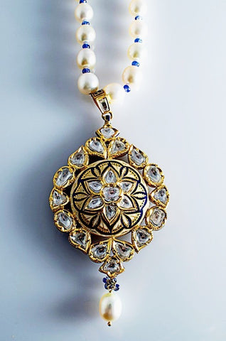 Cream and Blue Enamel Diamond Polki Pendant set by Suranas Jewelove in India