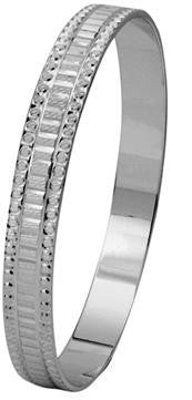 Broad Platinum Bangle with Princess cut Diamond-style SJ PT 311 in India