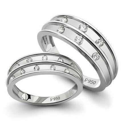 Broad Platinum Love Bands with Diamonds SJ PTO 128 in India