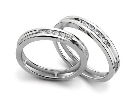 Super Sale -  SJ PTO 139 Platinum Band with Channel Set Diamonds for Women in Size 13 - Suranas Jewelove