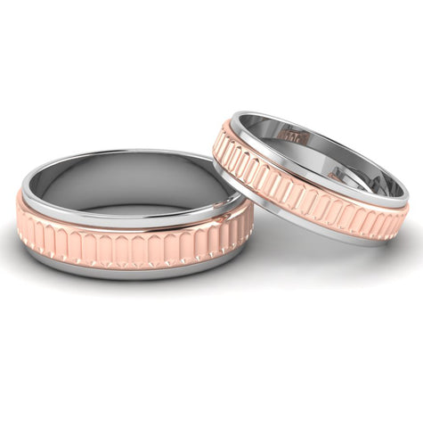 Front View of Designer Platinum & Rose Gold Couple Rings JL PT 638