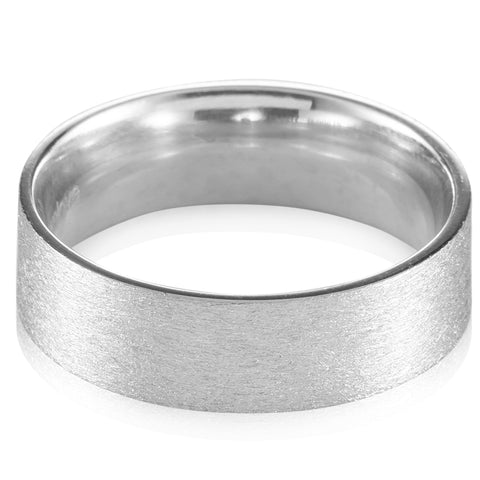 7mm Satin Finish Flat Platinum Band for Men JL PT 467