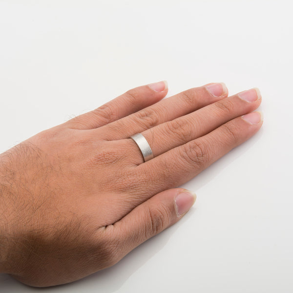 7mm Satin Finish Flat Platinum Ring Comfort Fit with Matte finish for Men JL PT 467 How it looks when worn of finger View